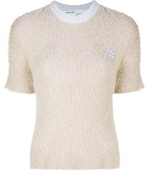off-white logo patch fluffy knit top - neutrals