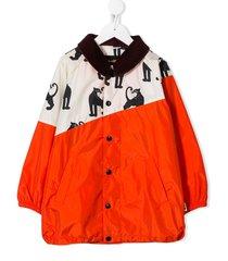 mini rodini tiger print patchwork jacket - red