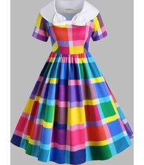 bowknot collar colorful plaid plus size vintage dress