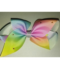 5 inch gradient rainbow rhinestone hair clip bow one piece
