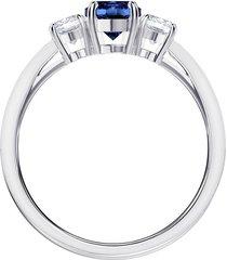anillo attract trilogy round, azul, baño de rodio