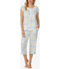 eileen west printed ruffle-trim capri pajama set