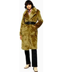 chartreuse faux fur belted coat - chartreuse