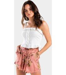 ashten floral paperbag shorts - rose