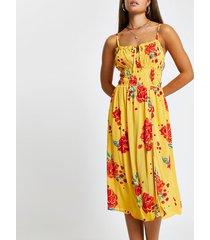 river island womens orange floral shirred midi beach dress