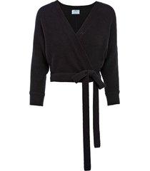 prada tie-waist wrap cardigan - black