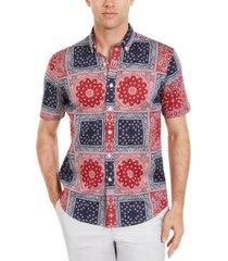 club room men's patchwork bandana-print shirt, created for macy's