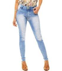 calça jeans skinny cintura alta levanta bumbum delavê feminina