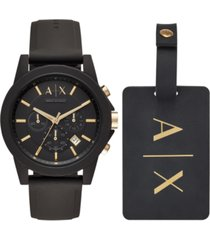 ax armani exchange men's chronograph outerbanks black silicone strap watch 45mm gift set