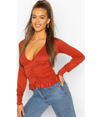 ruched long sleeve crop top, terracotta