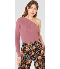 na-kd one shoulder oversize knitted sweater - pink