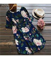 zanzea mujeres más el tamaño de una línea de boho floral vestido de tirantes vestido de fiesta de la playa de algodón (de manga corta) -azul