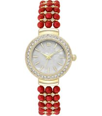 charter club women's gold-tone crystal & bead bracelet watch 28mm, created for macy's
