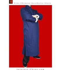 premium linen blue kung fu martial arts tai chi long coat robe custom made
