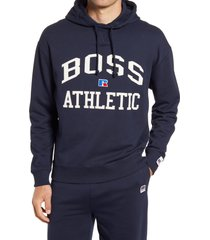 boss x russell athletic safara varsity logo hoodie, size x-large - blue