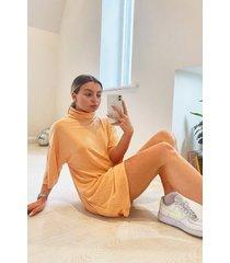 brushed rib roll neck t-shirt dress, apricot