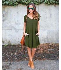 casual loose mini vestidos con bolsillos manga corta cuello redondo -ejercito verde
