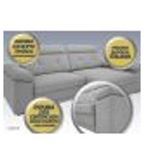 sofá glamour 2,50m assento com braço retrátil e reclinável velosuede grafite - netsofas