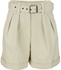 brunello cucinelli cotton panama tailored city shorts with belt