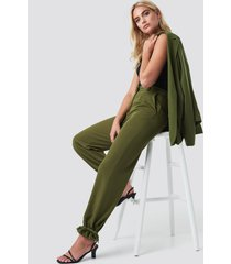 na-kd drawstring detail pants - green