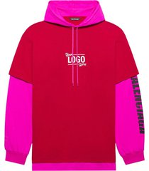 your logo here hoodie t-shirt, raspberry and white