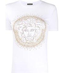 versace medusa head studded t-shirt - white