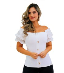 blusa off shoulders con mangas en ojalillo natural unipunto 32400