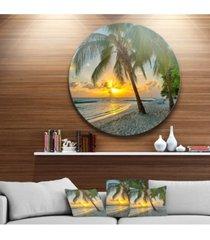 "designart 'beach in caribbean island of barbados' seascape metal artwork - 23"" x 23"""