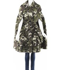 miu miu 2019 panama camouflage hooded cape black/green sz: s