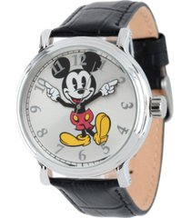 disney mickey mouse men's shiny silver vintage alloy watch