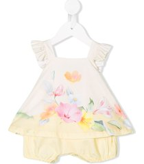 lapin house sleeveless floral print romper - yellow