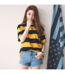 camiseta femenina de manga corta franja-negro y amarillo