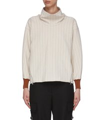 side zip cowl neck rib cuff sweater