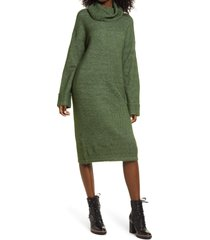 women's vero moda gaiva turtleneck long sleeve sweater dress, size x-small - green