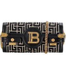 balmain bicolor jacquard b-buzz 23 clutch bag