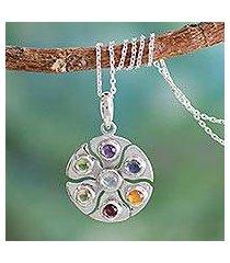 gemstone pendant necklace, 'chakra circle' (india)