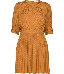 satin jacquard mini dress kort klänning orange by ti mo
