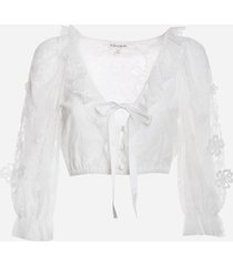 for love & lemons short lace blouse with all-over embroidery
