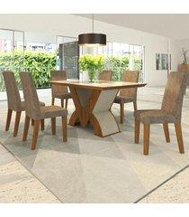mesa de jantar 6 lugares pandora venus seda/malta - viero móveis
