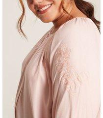blusa mujer unicolor cuello redondo