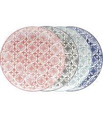 jogo de pratos rasos em porcelana lyor royal 26,5cm sortido 4 peças