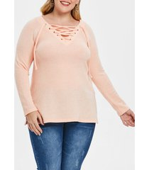 lace up plus size raglan sleeve sweater