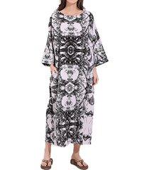 vestito da donna delle donne dell'annata stampato il vestito lungo dalla tasca delle tasche dell'o-collo del manicotto