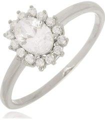 anel princesa cristal di capri semi jóias x ouro branco prata