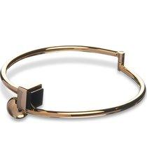 egotique designer bracelets, arlequin golden brass thin bangle w/black stone
