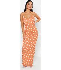 petite bloemenprint maxi jurk met bandjes, oranje