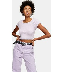 lilac fluffy knitted crop top - lilac
