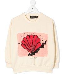 mini rodini shell print sweatshirt - neutrals