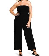 plus size women's city chic strapless wide leg jumpsuit, size x-small - black