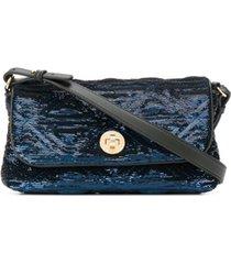 emporio armani bolsa tiracolo com logo gravado e bordado de paetês - azul